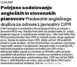 potrjeno sodelovanje Angleških in Slovenskih piarovcev